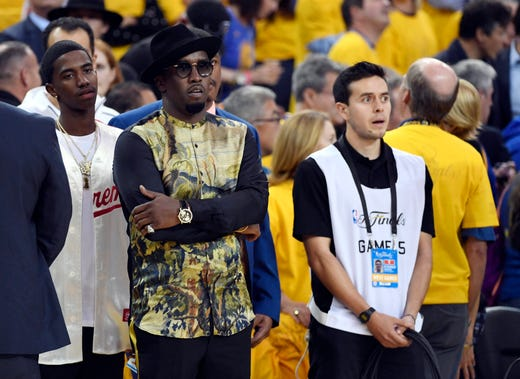 Diddy in attendance before game five of the 2017 NBA Finals between the Golden State Warriors and the Cleveland Cavaliers at Oracle Arena on June 12, 2017.