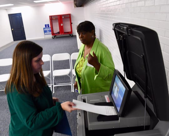 In Belton, Poll manager Betsy Lewis watches Lindsay Page be the first to vote shortly after 7 a.m. at the Belton Community and Recreation Center Tuesday, Nov. 5, 2019.