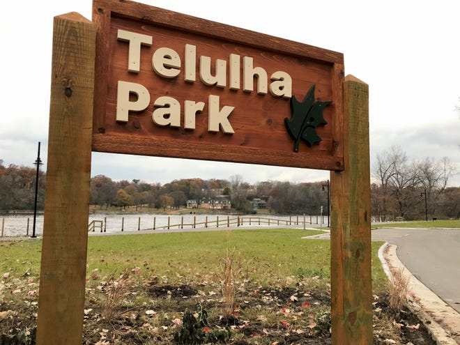 A sign for Telulah Park in Appleton erroneously transposes two letters.