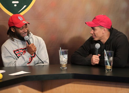 Green Bay Packers running back Aaron Jones (left) co-hosted Clubhouse Live on Monday at the Red Lion Hotel Paper Valley in Appleton. Packers wide receiver Allen Lazard was Jones' guest.
