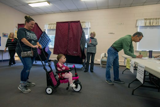 Maria Marino of Toms River waits in line to vote with her 17-month-old daughter, Isabella, on Election Day at the First United Methodist Church in Toms River, NJ Tuesday, November 5, 2019.