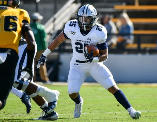Monmouth running back Pete Guerriero looks for an opening against Kennesaw State last weekend.