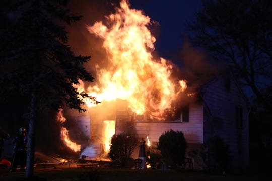 A structure fire sets house ablaze in the Leonardo section of Middletown Township Monday night Nov. 4 2019.