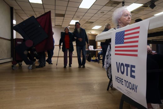 Voters cast their votes on Election Day at the Freehold Elks in Freehold, NJ Tuesday, November 5, 2019.