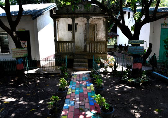 """The former """"comfort room"""", or lavatory, at Balanga Elementary School in Bataan, Philippines Oct. 22, 2019. The building was was turned into an interrogation chamber by the Japanese during their occupation of Bataan in the Philippines, it remains out of service but serves as a reminder of what happened there."""