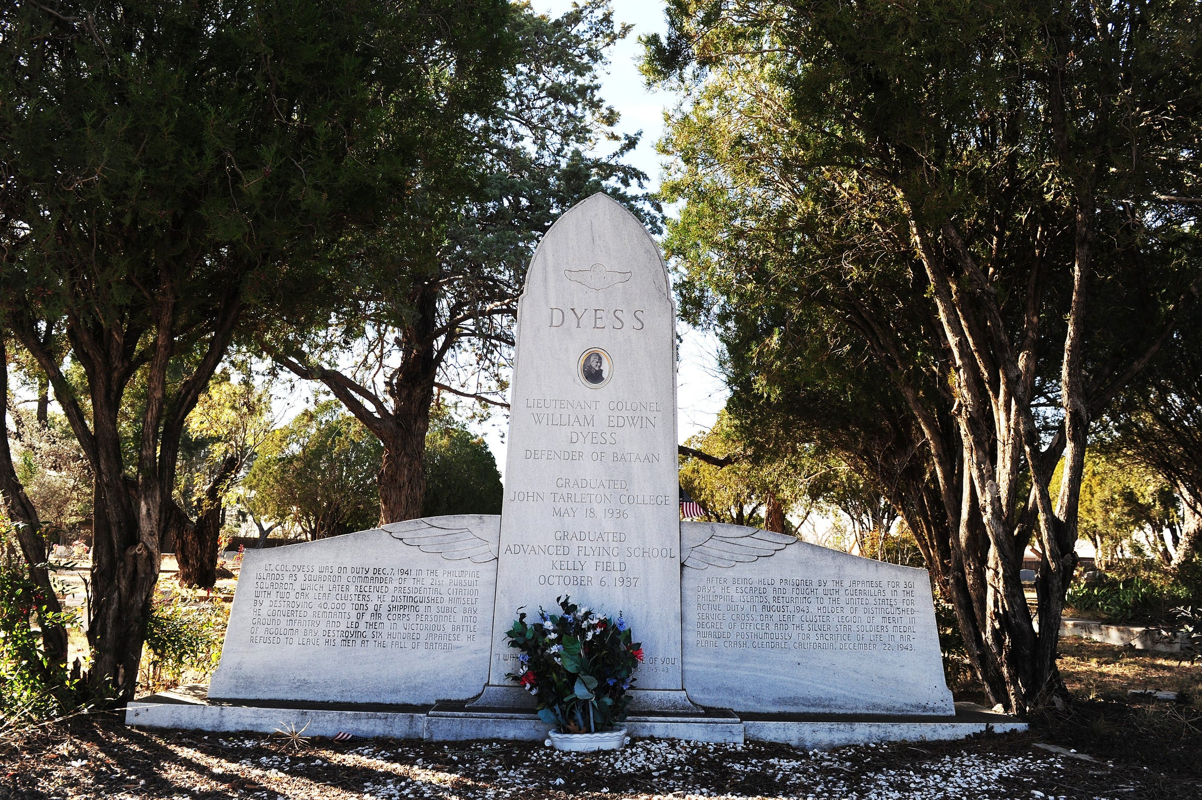 The grave of Lt. Col. William Edwin Dyess in the Albany, Texas, cemetery.