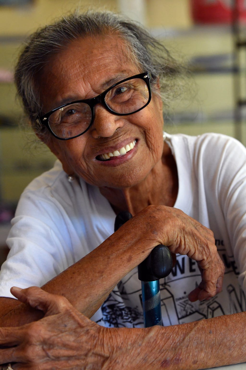 "Maria Cervantes, 90, at the Bataan World War II Museum in Balanga City, Philippines, on Oct. 22, 2019. Cervantes was 13 when she was swept up in the Bataan Death March with her family. Despite the atrocities she witnessed, she long ago let go of any anger toward the Japanese. ""Love your enemies, and God will reward you,"" she said."
