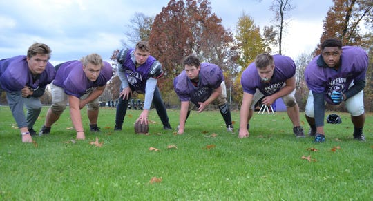 The Lakeview offensive line has been one of the keys to the team's success as the Spartans are 10-0. From left, Mason Belmore, Andrew Berryhill, Hayden Love, Luke Goodman, Zac Brower, Jayden Dennis. Not picture, starting guard Hunter Markos.
