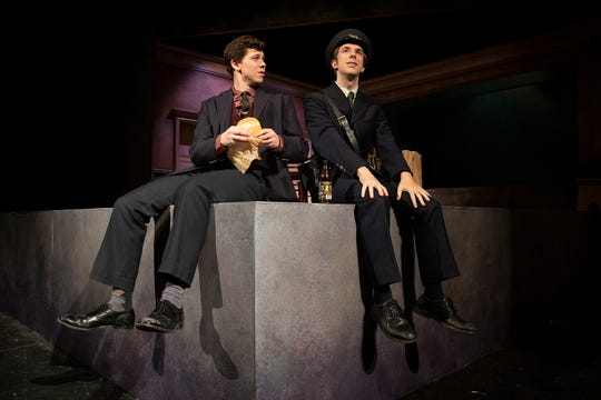 "Tyler Johnson and Gabriel Pinciotti star in Binghamton University Theatre Department's production of ""A Man of No Importance."""