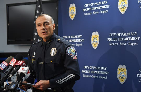 Palm Bay Police Chief Nelson Moya addresses the news media regarding the three violent deaths in two unrelated shootings that are not believed to be random,