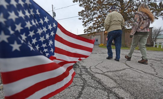 Voters head to the Youth Building at the Crawford County Fairgrounds to vote on Tuesday.