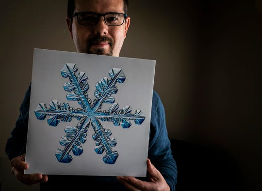"""Caleb Foster has been photographing snowflakes for the past 10 years. In 2012, he moved to Jericho, Vt., from Pittsburgh, Pa., completely unaware that another man in town was doing the same thing, more than 130 years ago. His name was Wilson """"Snowflake"""" Bentley, credited with capturing the first photo of a snow crystal ever."""
