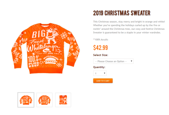 Whataburger released a new Christmas sweater for the 2019 holidays. The sweater is available online for $42.99.