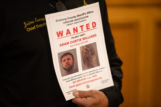 Kleberg County Sheriff Richard Kirkpatrick announces during a press conference that an arrest warrant has been issued for Adam Williams on suspicion of felony theft, Tuesday, Nov. 5, 2019.Williams was the man in the photo released by authorities and is solved to be linked to the New Hampshire couple found buried at Texas beach.