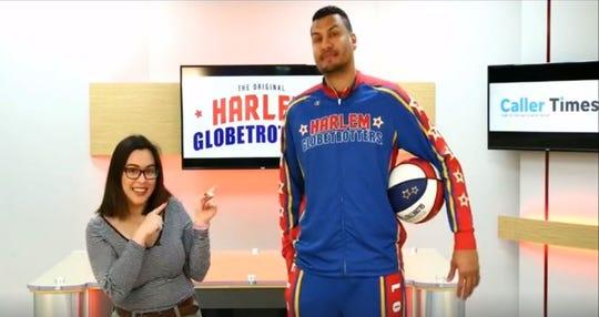 "Caller-Times reporter Meagan Falcon interviews Harlem Globetrotters player Orlando Meléndez, AKA ""El Gato,"" on Facebook Live."