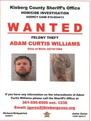 Adam Curtis Williams is wanted on suspicion of felony theft for his involvement in the case of James and Michelle Butler.