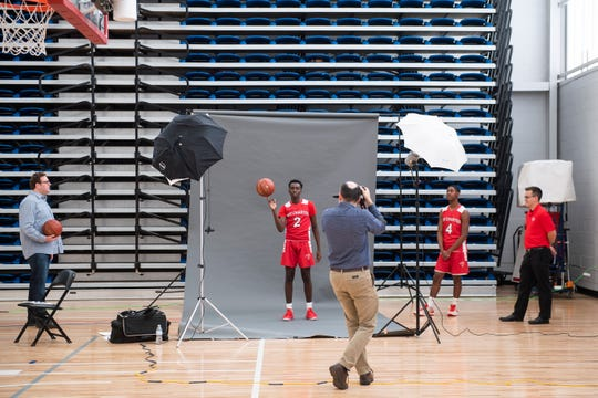 MOT Charter's Devin Momanyi poses during Delaware Online Basketball Media Day Tuesday, Nov. 5, 2019 at the 76ers Fieldhouse in Wilmington, Del.