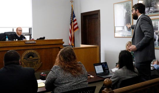 Ryan Shepler, right, gives a closing statement to Hocking County Juvenile Court Judge Jonah Saving Tuesday morning, Nov. 5, 2019, in Logan. Shepler was speaking on behalf of his client Jaden Churchheus. The 16-year-old is accused of murder of Victoria Schafer on Sept. 2 near Old Man's Cave in Hocking Hills State Park. Saving found probable cause to bound over Churchheus to the adult division of common pleas court for trial.