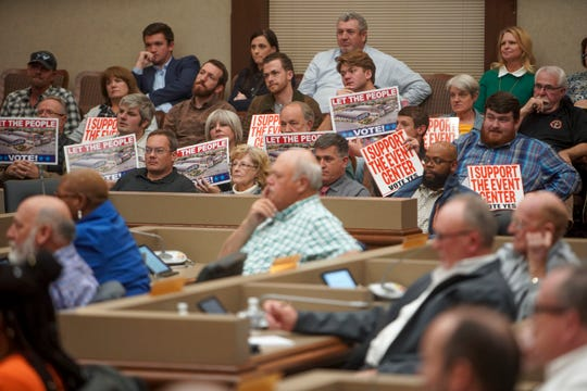 Residents fill every seat in the public seating during the county commission meeting discussing the new events center plans at Montgomery County Historic Courthouse in Clarksville, Tenn., on Monday, Nov. 4, 2019.