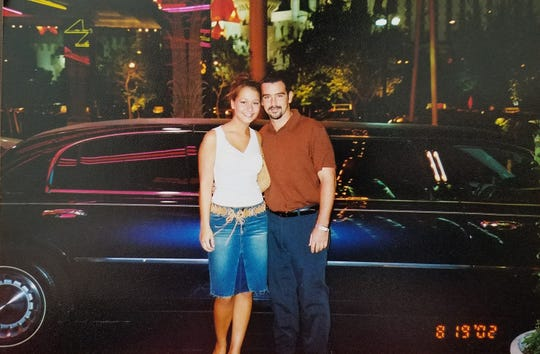 Megan Frey, then 18, with Wes Feltner in Las Vegas on Aug. 19, 2002.