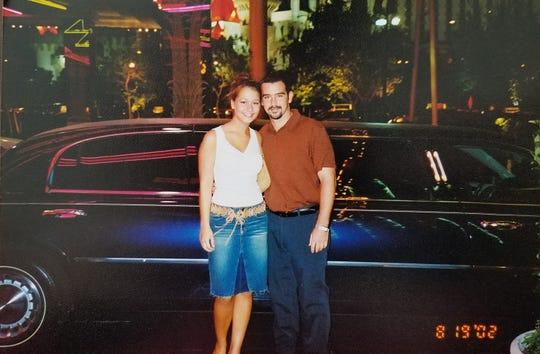 Megan Frey, then 18, with Wes Feltner in Las Vegas on Aug. 19, 2002.