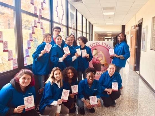 SCVTHS Health occupation students (front, left to right) Megan Norz of Hillsborough, Alyssa Cimino of Bound Brook, Jayda Upton of Watchung, Madison Pitts of South Bound Brook, Gracie O'Krogly of Peapack; (back, left to right) Giavanna Barras of Manville, Isabella Toscano of Somerset, Brian Coletta of Green Brook, Ariel Smith of Franklin Park, Alexa Pineda of Bridgewater, Vanessa Wilkerson of South Bound Brook and Lee Ann Richards of Bound Brook pose with some of the Celebration of Life birthday cards.