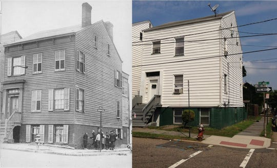 The Mills home, then and now.