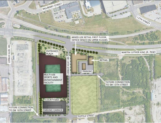 A master plan showing the $95 million proposal for a soccer stadium and mixed-use development south of downtown Des Moines.