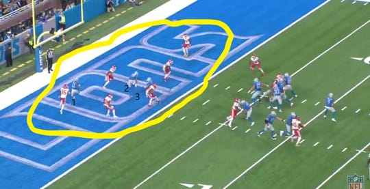 A screen grab of the Lions' goal-line play against the Chiefs before Matthew Stafford is sacked at Ford Field.