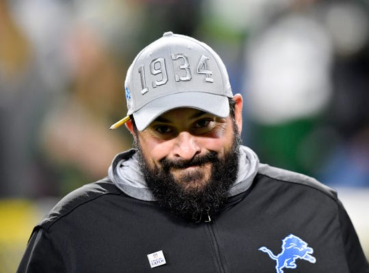 Matt Patricia before the game against the Packers at Lambeau Field on October 14.