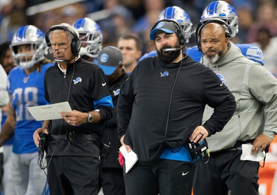 Detroit Lions coach Matt Patricia and defensive coordinator Paul Pasqualoni watch the action on the field during the fourth quarter against the Minnesota Vikings at Ford Field on October 20, 2019.