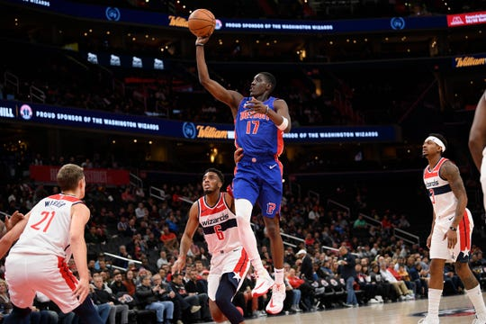 Detroit Pistons forward Tony Snell goes to the basket vs. the Washington Wizards during the first half Monday, Nov. 4, 2019, in Washington.