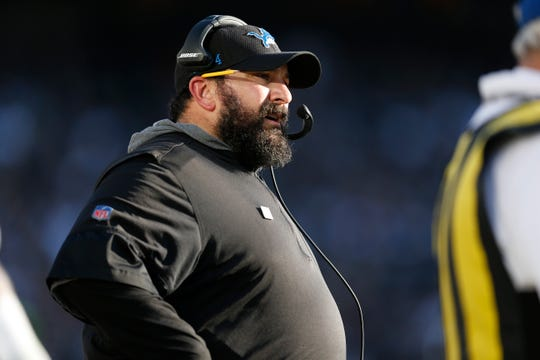 Head coach Matt Patricia and the Lions are 3-4-1 after Sunday's loss at the Raiders.