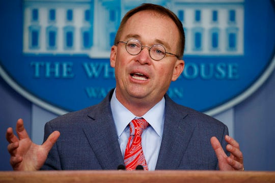 White House chief of staff Mick Mulvaney speaks in this Oct. 17, 2019, file photo.