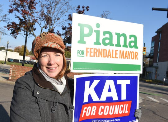 Melanie Piana, 46, of Ferndale, who is running for mayor, stands outside the Ferndale Public Library Tuesday morning.