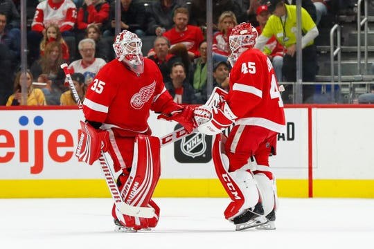 Red Wings goaltender Jonathan Bernier (45) replaces Jimmy Howard in the second period.