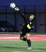 Vestal goalie Emerson Wong throws the ball ahead during a Class A girls soccer regional semifinal against Pearl River on Nov. 5, 2019 at Waverly Memorial Stadium.
