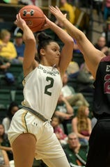 CSU's Tori Williams (2) led CSU with 17 points and five 3-pointers Sunday but the Rams fell in overtime to Northern Illinois, 80-75, in Moby Arena.