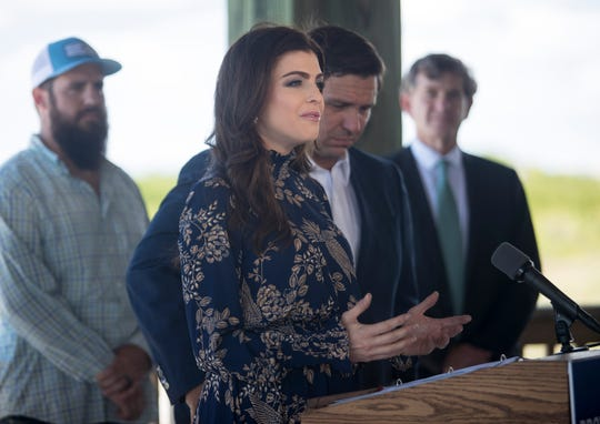 First Lady Casey DeSantis talks about her inspiration for the state's new water quality website during a press conference on Tuesday, Nov. 5, 2019, at Lovers Key State Park.