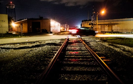 Traffic crosses the train tracks on Lemon Street in Fort Myers on Monday, Nov. 4, 2019. Some residents are concerned about the encroachment of commercial uses to the neighborhood due to rezoning changes by the City of Fort Myers. The rezoning changes are expected to be voted on by city council members.