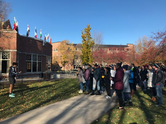 St. Norbert College students gather on campus Tuesday, Nov. 5, 2019, to protest the announced departure of President Brian Bruess.