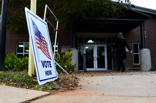 Voters cast their ballots at the Brutontown Community Center Tuesday, Nov. 5, 2019.