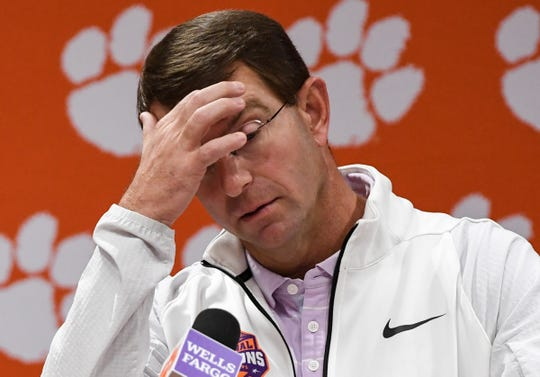 Clemson Head Coach Dabo Swinney talks during his weekly press conference at the Allen Reeves football complex in Clemson Tuesday, November 5, 2019.