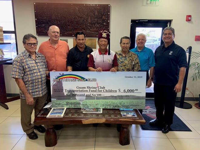 The Hui Aikane Golf Club donated $6,000 to the Guam Shrine Club's transportation fund for children on Nov. 5. The monetary donation assists children and a parent on Guam with transportation for orthopedic needs at Honolulu-based Shriners Hospital for Children.