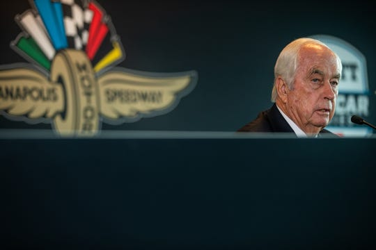 During a press conference at Indianapolis Motor Speedway, Roger Penske, chairman and founder of Penske Corporation, talks about the purchase of Hulman & Company, which includes Indianapolis Motor Speedway, the NTT IndyCar Series and Indianapolis Motor Speedway Productions subsidiaries, by Penske Entertainment Corp., a subsidiary of Penske Corporation on Monday, Nov. 4, 2019.