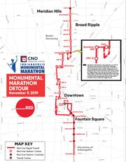 The Red Line detour route during the Monumental Marathon on Saturday, Nov. 9.