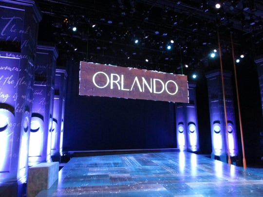 """The company of the University of Iowa's production of """"Orlando"""" perform dress rehearsal on the night of Monday, Nov. 4 in Mabie Theatre."""