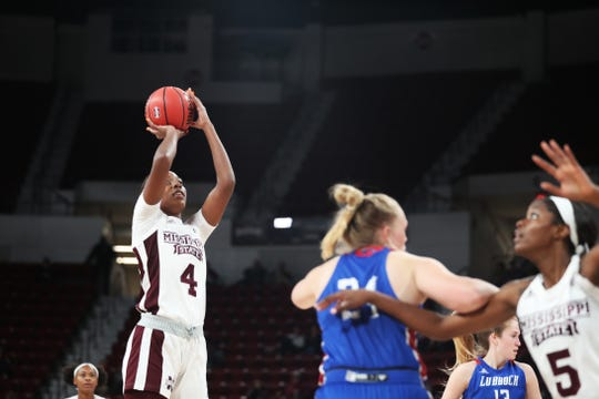 Mississippi State sophomore center Jessika Carter scored 27 points in the Bulldogs' victory over Lubbock Christian on Monday night.