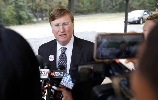 Republican nominee for governor and current Lt. Gov. Tate Reeves, speaks to reporters after voting in the general election. On Wednesday he announced additional leaders for his gubernatorial transition team.