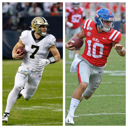 Should Ole Miss use quarterback John Rhys Plumlee (right) the way the New Orleans Saints use Taysom Hill (left)? (Photos by Charles Rex Arbogast/AP and Thomas Graning/AP)